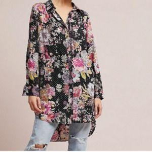 Anthropologie Maeve Floral Print Shirt Dress